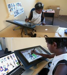 Kids with NEOmads project working with animation technology.From the Yijala Yala Facebook page.
